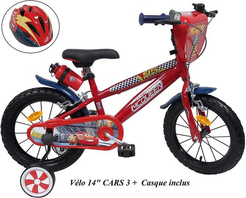 "VELO 14"" GARCON LICENCE CARS - 2 FREINS + Casque Inclus"